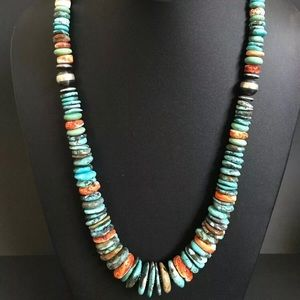 S. S.Turquoise Spiny Oyster Bead Necklace. 24 inch